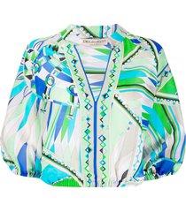 emilio pucci bes print beach blouse - green