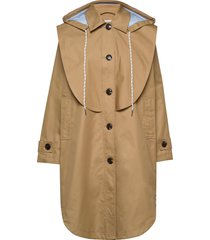 hooded trench coat with striped contrast lining parka rock jacka beige designers, remix