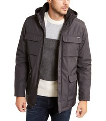 calvin klein men's bonded all-season hooded jacket, created for macy's