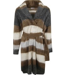 brunello cucinelli stripe belted cardi-coat