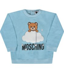 moschino light blue sweatshirt with teddy bear for baby boy