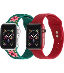 men's and women's green floral red 2 piece silicone band for apple watch 38mm