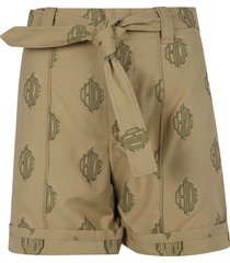 chloé logo printed belted shorts