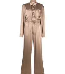 nanushka odella satin jumpsuit - brown