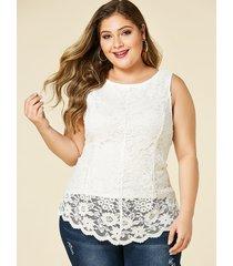 yoins blusa sin mangas con cuello redondo de encaje blanco de talla grande