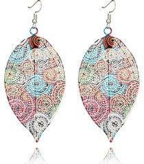 orecchini pendenti in foglia di boemia orecchini a spirale colorati a forma di foglia per le donne