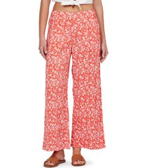roxy midnight avenue wide leg pants, size x-small in poppy red betty at nordstrom
