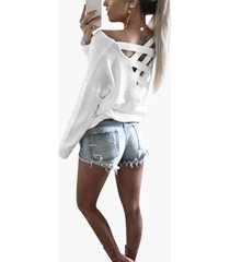 cutout round neck backless hollow details t-shirts in white