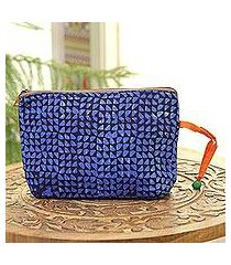 batik cotton cosmetic bag, 'magical triangles in navy' (india)
