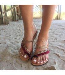 sandali piatti di bohemian sequined clip toe beach
