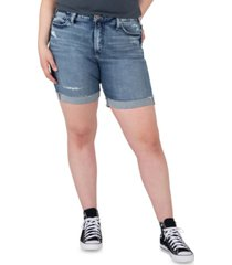 silver jeans co. trendy plus size sure thing high-rise long jean shorts