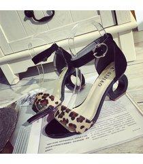 nueva mujer punta abierta sandalias de tacón alto hebilla correa de tobillo