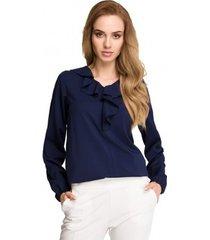 blouse style s104 blouse met ruche accenten - marineblauw