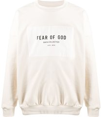 fear of god logo patch cotton sweatshirt - neutrals
