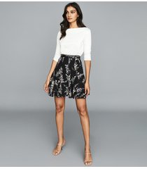 reiss mirella - printed mini skirt in multi, womens, size 12