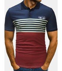 golf casual stampato a righe da uomo estivo sottile golf camicia