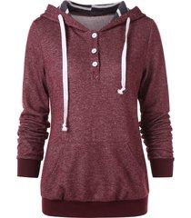 half button kangaroo pocket hoodie