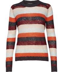 knitted crew neck in colourful stripes gebreide trui rood scotch & soda