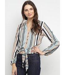 camisa manga longa acostamento estampada botões nozinho feminina
