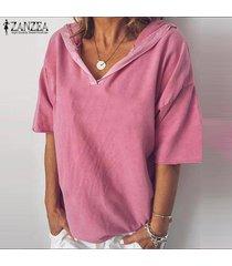 zanzea ocasional de las mujeres de manga corta con capucha sólido tops camisas de la blusa del tamaño extra grande -rosado