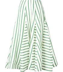 green and white flouncy skirt