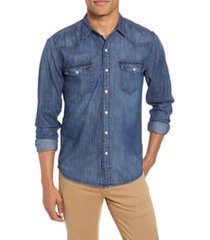 men's frame pc slim fit denim western shirt, size large - blue