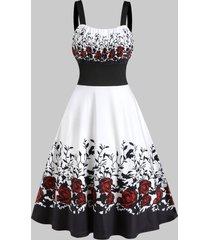 flower pattern empire waist midi cami dress