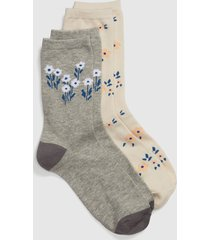 lane bryant women's 2-pack crew socks - flowers & stripes onesz grey