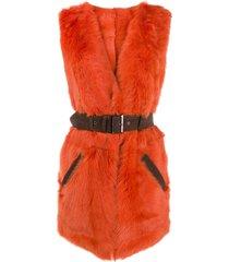 alberta ferretti sleeveless belted gilet - orange