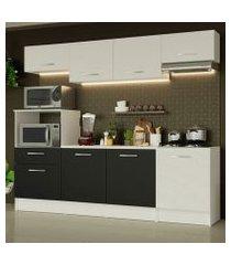 cozinha completa madesa onix 240003 com armario e balcão branco/preto 0973 branco/branco/preto