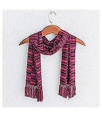 rayon chenille scarf, 'magenta nights' (guatemala)