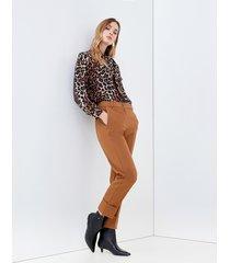 motivi pantaloni a sigaretta con risvolto donna marrone