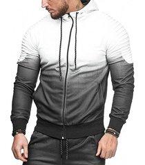 ombre shoulder pleated sports zip hoodie
