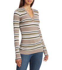 sparkling stripes wool & cashmere knit sweater