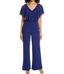 connected apparel chiffon cape jumpsuit, size 16 in deep blue at nordstrom