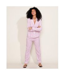 pijama feminino camisa estampado xadrez vichy com vivo contrastante manga longa rosa escuro