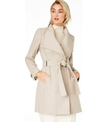 calvin klein petite asymmetrical belted wrap coat, created for macy's