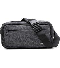 pochete masculina com fechamento e bolsos em zíper cinza - kanui