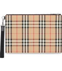 burberry vintage check cotton zip pouch - neutrals