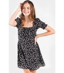 mattie square neck floral mini dress - black