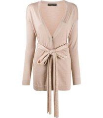 fabiana filippi silk waist-tied cardigan - neutrals