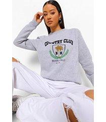 country club sweater met tekst, grey marl