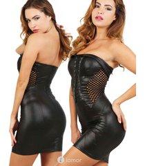 zwart wetlook strapless jurkje