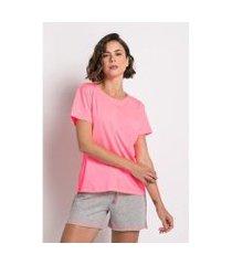 pijama curto de meia malha e moletom - neon acuo feminino