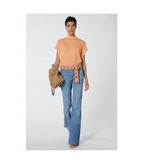 calca basic flare midi jeans medio - 44