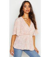 printed angel sleeve peplum blouse, nude