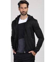 blusão masculino slim em moletom com capuz preto