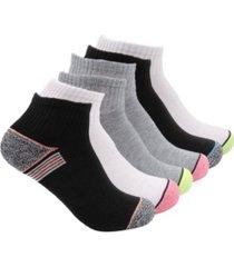 k-swiss women's cushioned court performance quarter socks, 6 pack