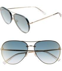 women's rebecca minkoff gloria2 59mm aviator sunglasses - military green