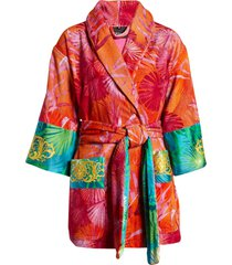 versace jungle print short robe, size x-large - red
